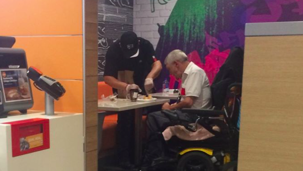 Disabled man at McDonald's