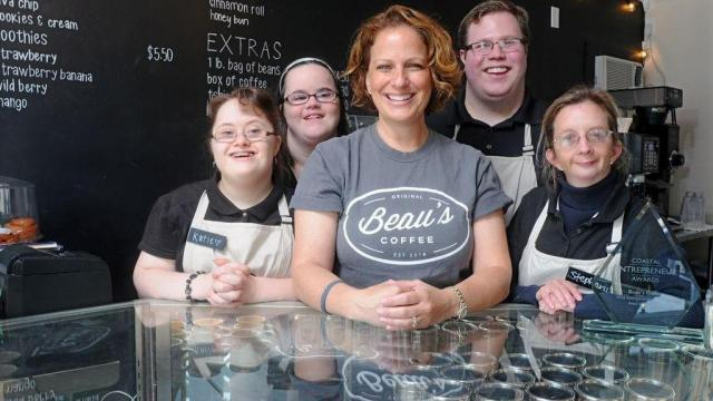 Amy Wright and coffee shop employees
